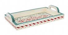 Moroccan Serving Tray. Wood. Handmade Hand painted Off White  Red Green Antiqued Effect (SWT4)